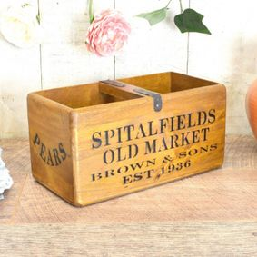 Hardwood printed wax finish nostalgic box. Spitalfields Market.