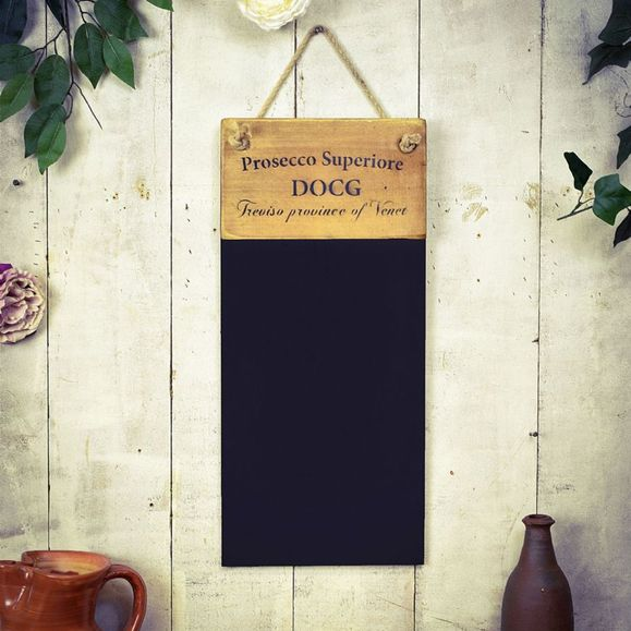 Reclaimed wooden French polished black board. Prosecco