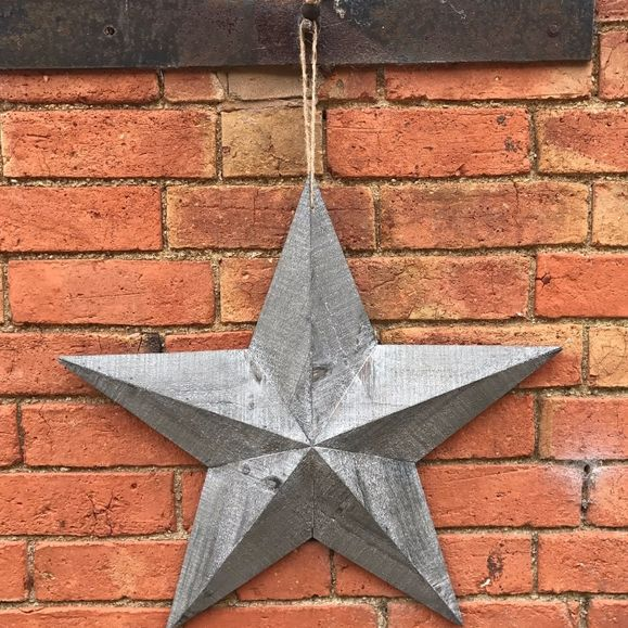 Extra Large wooden grey wash barn star.