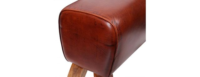 Medium Leather pommel horse stool with wooden legs.