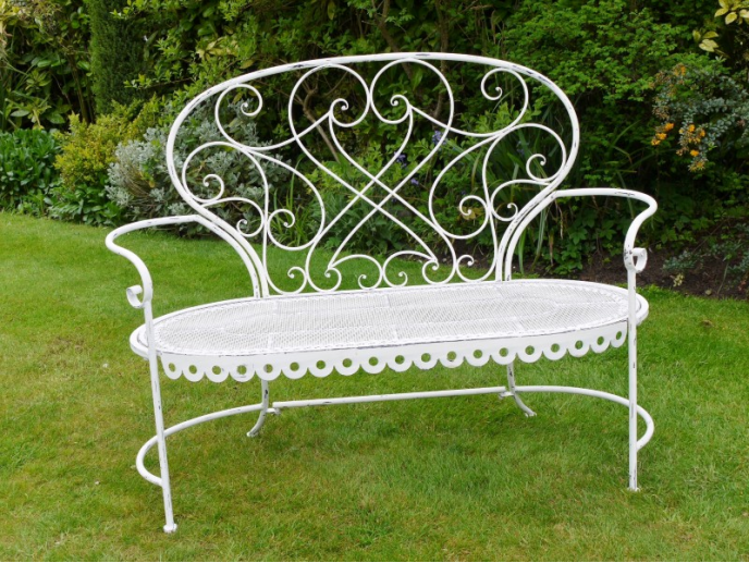 White wash garden bench.