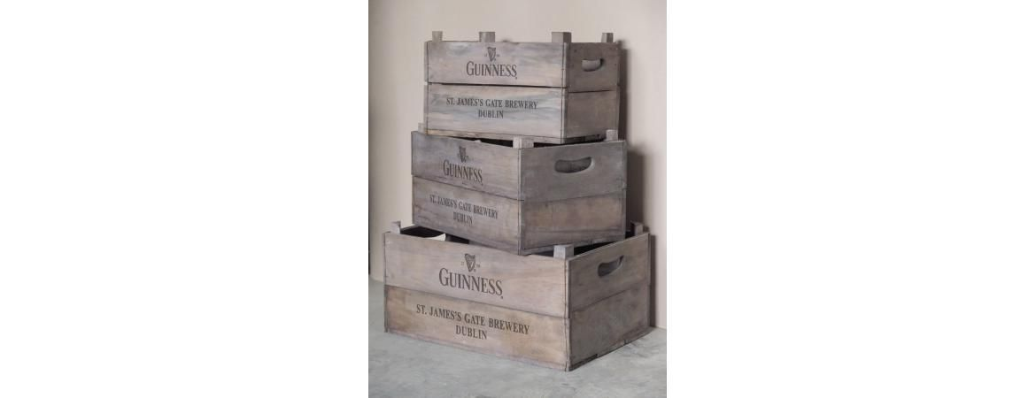 Vintage style display crates. Guinness with Harp Logo.