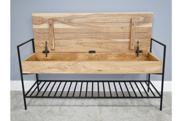 Loft: Acacia wood and steel storage bench.