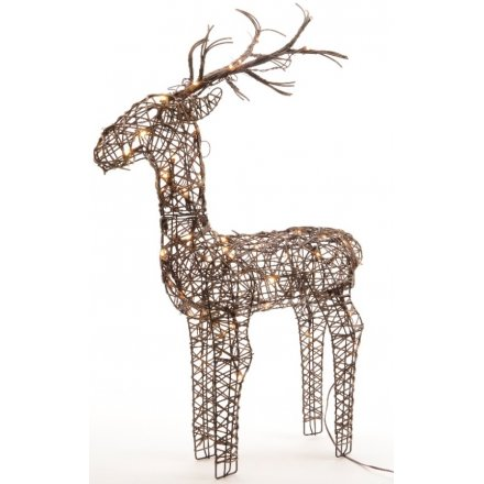 Wicker LED reindeer 60cm