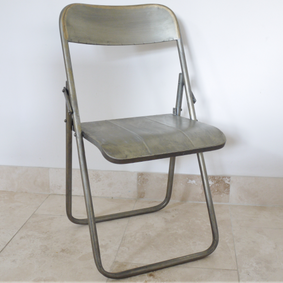 Loft industrial style steel folding chair.