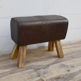 Dark Leather pommel horse stool.