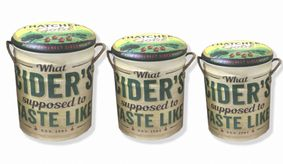 Set Of 3 Metal storage Stools / container. Thatchers Gold cider.