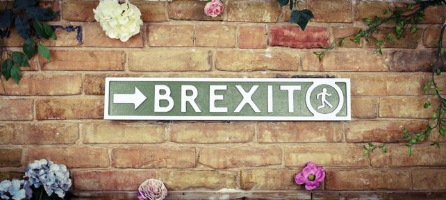 Wooden sign: Brexit Sold out