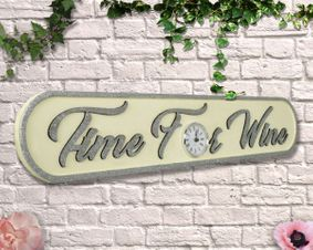 Wooden sign: Time For Wine cream with Glitter Clock Sign.