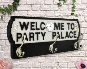 Wooden Welcome To Party Palace Antique Style