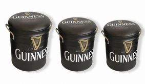 Set Of 3 Metal storage Stools / container Guinness. Back soon