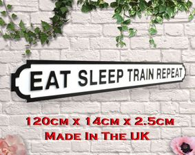 Wooden sign: Eat Sleep Train Repeat