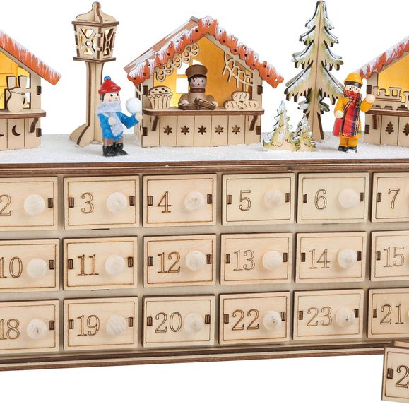 Authentic German product. Light up Christmas Market Advent Calendar.