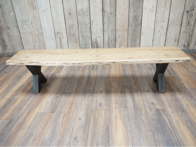 Loft style Acacia wooden long bench.