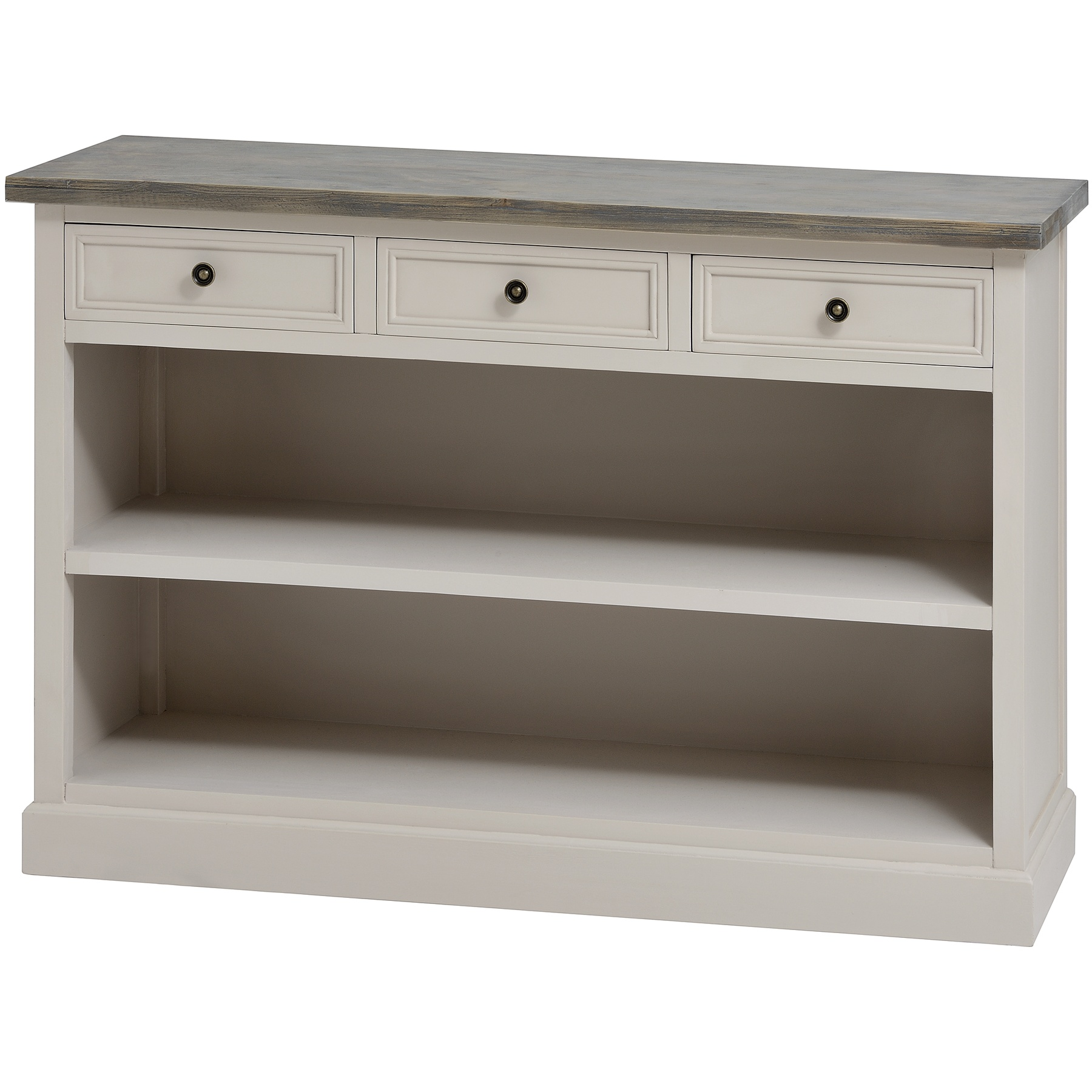 Bath range: Neutral three drawer unit with shelves