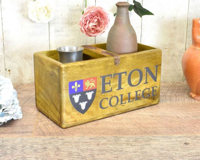 Hardwood printed wax finish nostalgic box. Eton Collage.