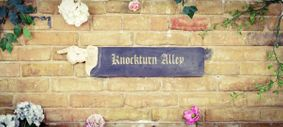 Wooden sign: Black and antique white Knockturn alley sign. Perfect gift.