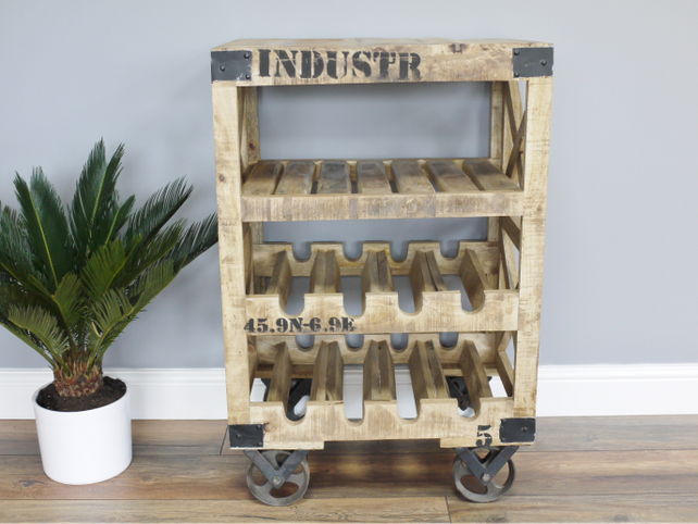 Industrial wooden Wine Trolley.