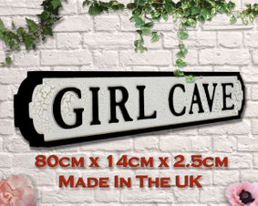 Retro Wooden sign: Girl cave. Great gift
