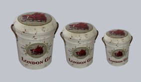 Metal storage Stools set of 3 / container London gin.
