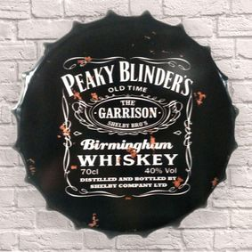 Large Metal Printed Bottle Top 40cm. Peaky Blinders Whiskey. Coming soon.