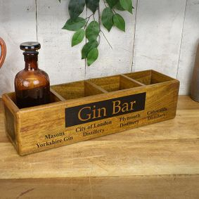 Hard wood four tier box.Gin Bar. Back soon