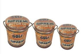 Set Of 3 Metal storage Stools / container Gulf oil.