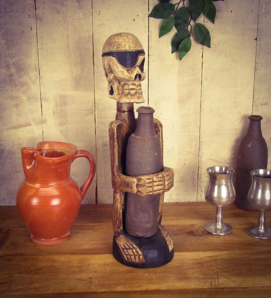 Reclaimed wooden,hand carved wine holder. Pirate.