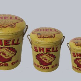 Metal storage Stools / container Shell. Sold out,back early July.