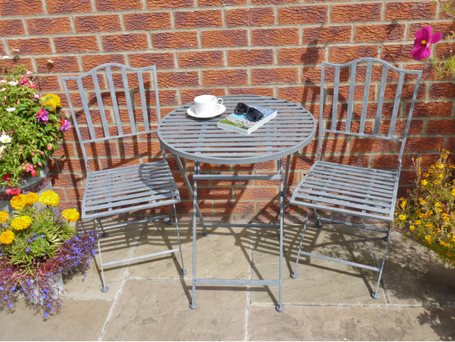 Garden bistro set in Grey.