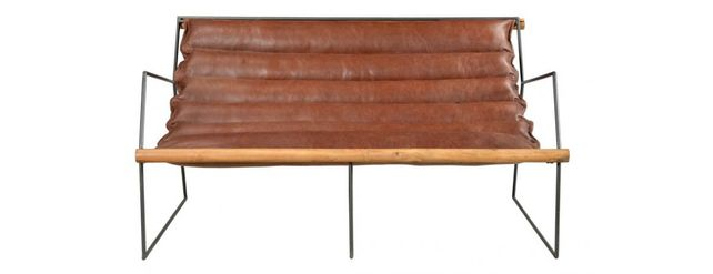 Leather sofa with steel construction.