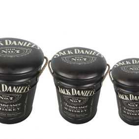 Metal storage Stools / container Jack Daniels. Sold out,back early July.