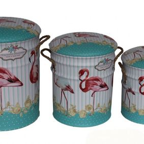 Metal storage Stools / container. Flamingo. Sold out,back early July.