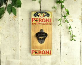 Wooden sign with bottle opener. Peroni.