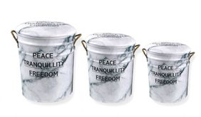 Set Of 3 Metal storage Stools / container. Peace Tranquility Freedom.