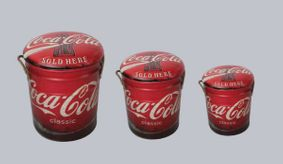 Metal storage Stools / container. Cola.