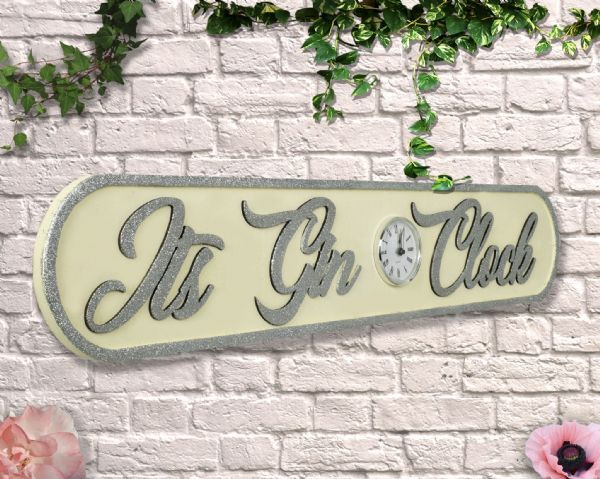 Wooden Sign: Its Gin O'clock cream with Glitter Clock.