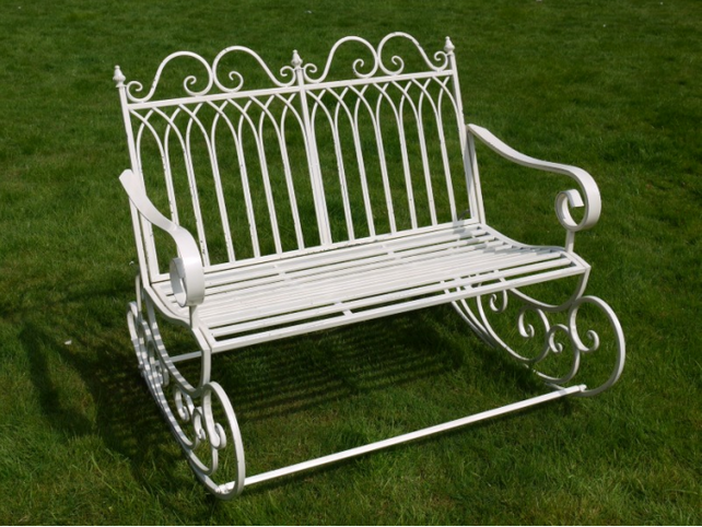 White rocking bench.