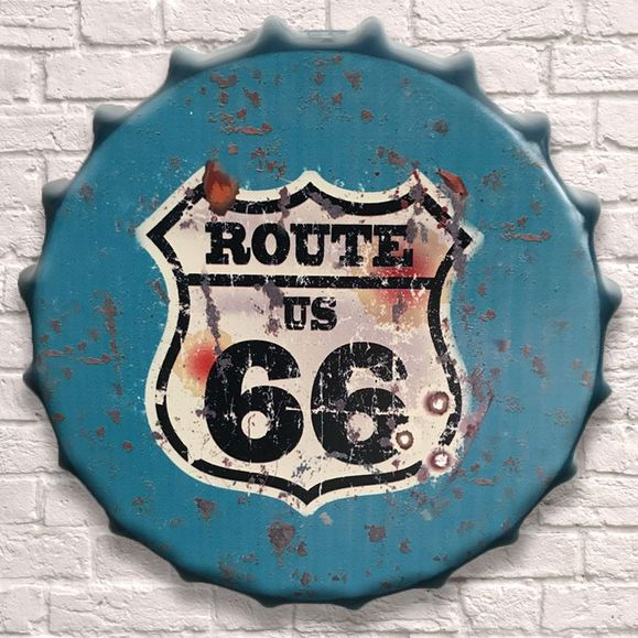 Large Metal Printed Bottle Top 40cm. Route 66.