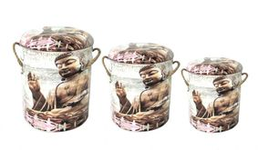 Set Of 3 Metal storage Stools / container. Buddha. SOLD OUT