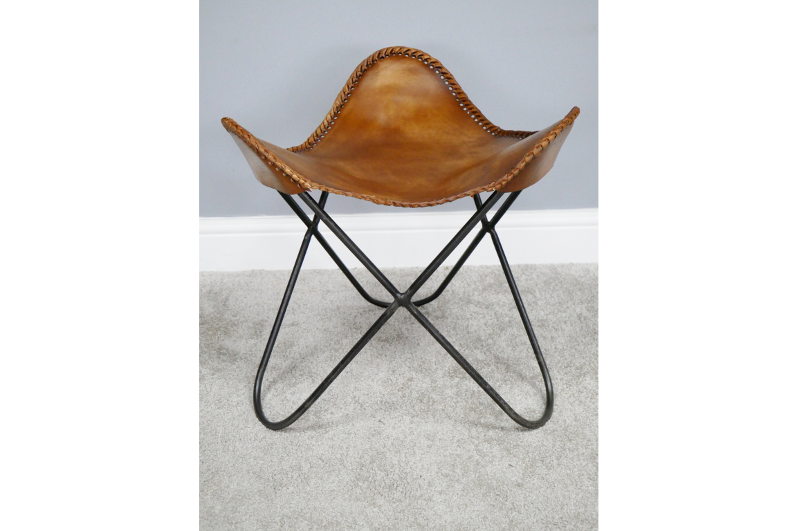 Loft:Leather and steel butterfly stool