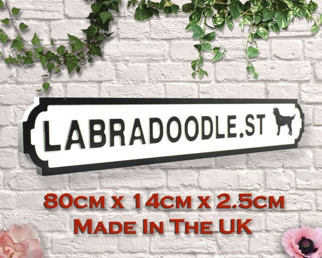 Wooden sign: Labradoodle St