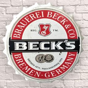 Large Metal Printed Bottle Top 40cm. Becks Beer.