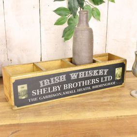 Hard wood four tier box. Peaky Blinders Irish Whiskey.