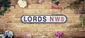 Wooden sign: Black and crackle white Lords sign. Great gift for the cricket buff