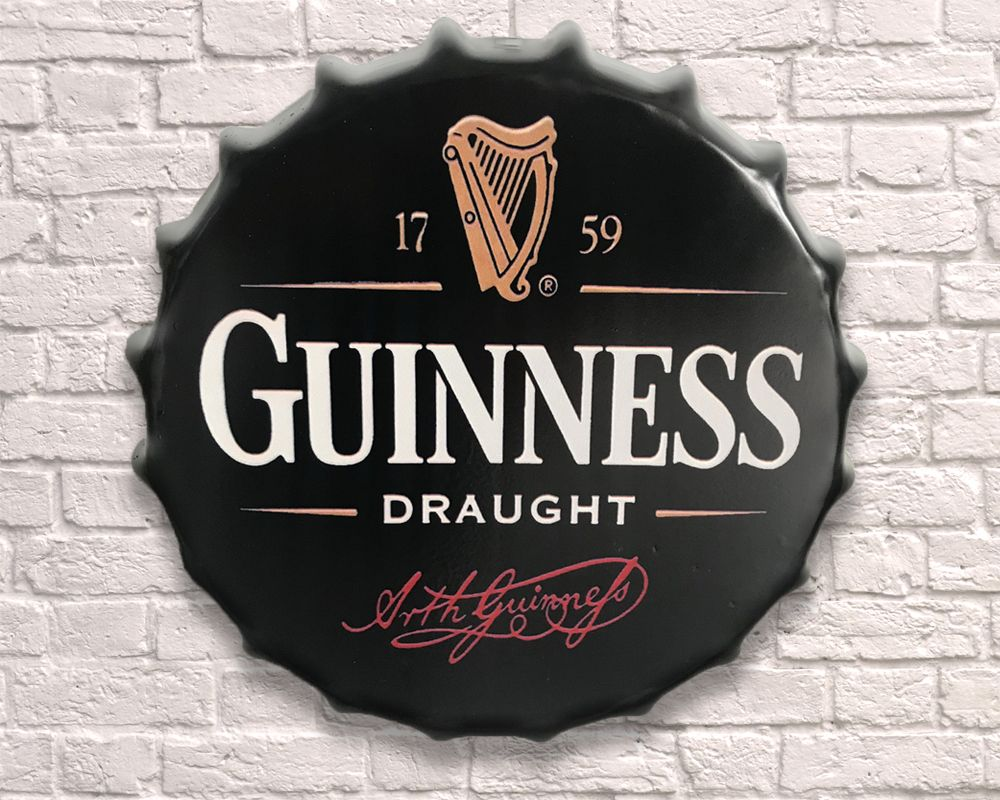 Large Metal Printed Bottle Top 40cm. Guinness. Coming soon.