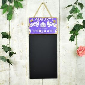 Reclaimed wooden black board. Dairy Milk