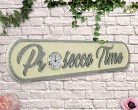 Wooden Sign: Prosecco Time cream with Glitter Clock Sign.