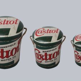 Metal storage Stools / container Castrol. Sold out,back early July.