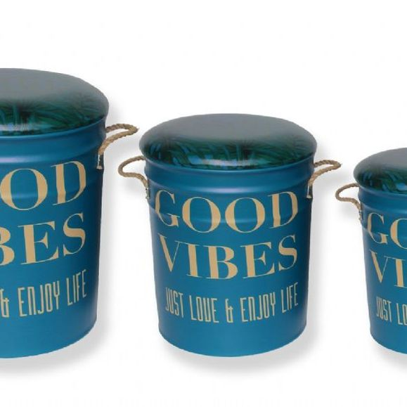 Set Of 3 Metal storage Stools / container. Good Vibes. Coming soon.